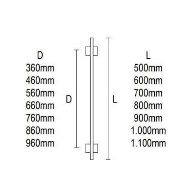 Λαβή εξώπορτας Viometale 04.35 ανοξείδωτη ματ/χρώμιο
