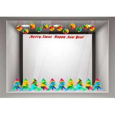 Αυτοκόλλητα Βιτρίνας Χριστούγεννα-Γιρλάντες με πολύχρωμα στολίδια και δέντρα και ευχές xmas13