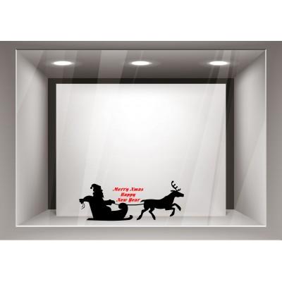 Αυτοκόλλητα Βιτρίνας Χριστούγεννα-Άγιος Βασίλης με το ελκηθρό του xmas12
