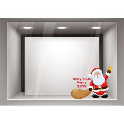Αυτοκόλλητα Βιτρίνας Χριστούγεννα-Άγιος Βασίλης με τα δώρα του xmas14