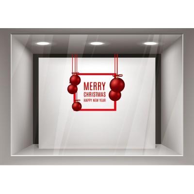 Αυτοκόλλητα Βιτρίνας Χριστούγεννα- Ευχές και Κόκκινες μπάλες του xmas16