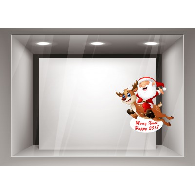 Αυτοκόλλητα Βιτρίνας Χριστούγεννα-Χαρούμενος Αγιος Βασίλης με το ελαφάκι του xmas19