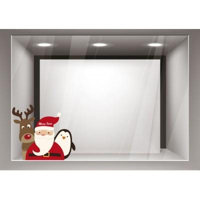 Αυτοκόλλητα Βιτρίνας Χριστούγεννα-Άγιος Βασίλης με τη παρέα του xmas06