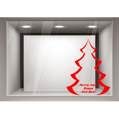 Αυτοκόλλητα Βιτρίνας Χριστούγεννα-Δέντρο με ευχές xmas11