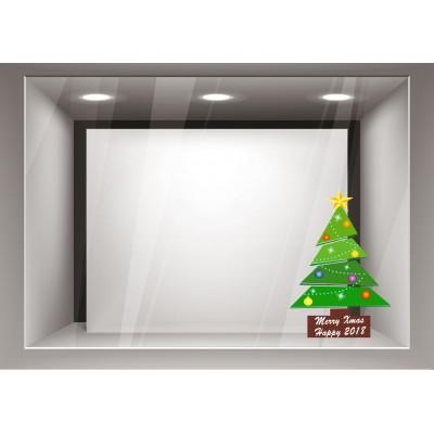 Αυτοκόλλητα Βιτρίνας Χριστούγεννα-Δέντρο με πολύχρωμες μπάλες xmas22