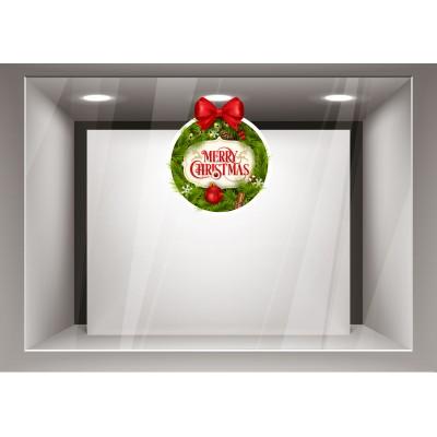 Αυτοκόλλητα Βιτρίνας Χριστούγεννα- Γιορτινό στεφάνι με  Ευχές xmas26