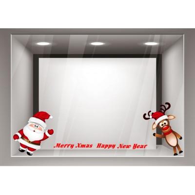 Αυτοκόλλητα Βιτρίνας Χριστούγεννα-Χαρούμενος Αγιος Βασίλης και Ελαφάκι xmas20