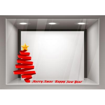 Αυτοκόλλητα Βιτρίνας Χριστούγεννα-Κόκκινο δέντρο με χρυσό αστέρι xmas21
