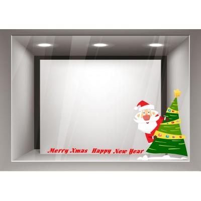 Αυτοκόλλητα Βιτρίνας Χριστούγεννα-Άγιος Βασίλης με το δέντρο του xmas23