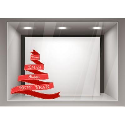 Αυτοκόλλητα Βιτρίνας Χριστούγεννα-Δέντρο κόκκινη κορδέλα με ευχές xmas07
