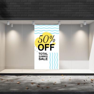 Summer Sales  02 Εκπτωτικά  Αυτοκόλλητα Βιτρίνας - Total Summer Sale