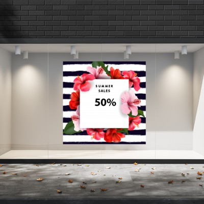 Summer Sales  06 Εκπτωτικά  Αυτοκόλλητα Βιτρίνας - Λουλούδια