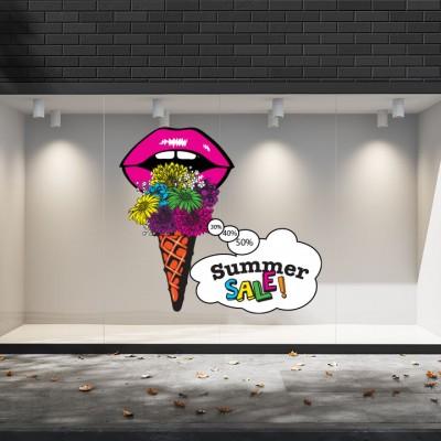 Summer Sales  11 Εκπτωτικά  Αυτοκόλλητα Βιτρίνας -Παγωτό εκπτώσεων