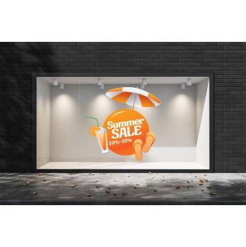 Summer Sales  12 Εκπτωτικά  Αυτοκόλλητα Βιτρίνας - Γρανίτα πορτοκάλι