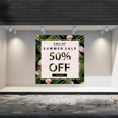 Summer Sales  16 Εκπτωτικά  Αυτοκόλλητα Βιτρίνας - Τροπικά φύλλα