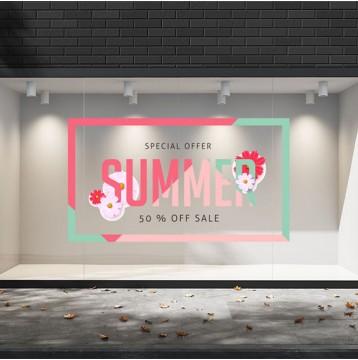 Summer Sales  18 Εκπτωτικά  Αυτοκόλλητα Βιτρίνας - Μαργαρίτες