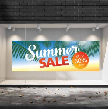 Summer Sales  20 Εκπτωτικά  Αυτοκόλλητα Βιτρίνας - Φοίνικες