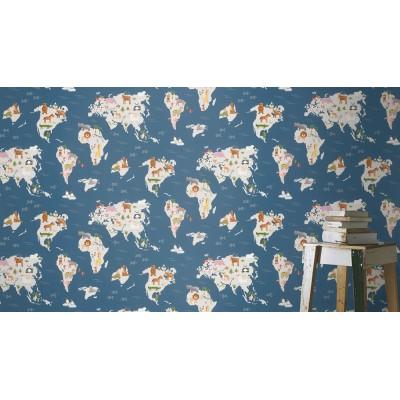 Ταπετσαρία τοίχου Rasch Kids & Teens III  210910 Χάρτης με ζώα 10,05x0,53