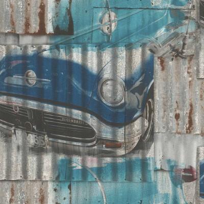 Ταπετσαρία τοίχου Rasch Kids & Teens III  212402  Γκράφιτι αυτοκίνητα 10,05x0,53
