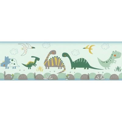 Ταπετσαρία τοίχου μπορντούρα  Rasch Bambino XVIII  248852 Χαρούμενοι δεινόσαυροι 5,00x0,17