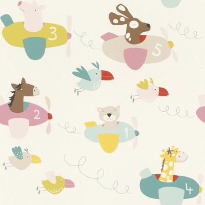 Ταπετσαρία τοίχου Rasch Bambino XVIII  249064 Ιπτάμενα ζωάκια 10,05x0,53