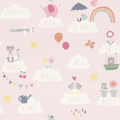 Ταπετσαρία τοίχου Rasch Bambino XVIII  249149 Παιδικό μοτίβο ροζ 10,05x0,53