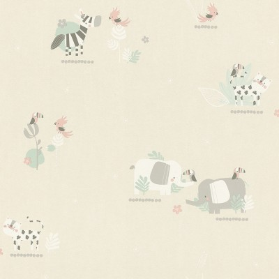 Ταπετσαρία τοίχου Rasch Bambino XVIII  249736 Χαρούμενα ζωάκια 10,05x0,53