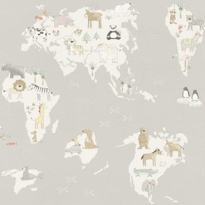 Ταπετσαρία τοίχου Rasch Kids & Teens III  210927 Χάρτης με ζώα 10,05x0,53