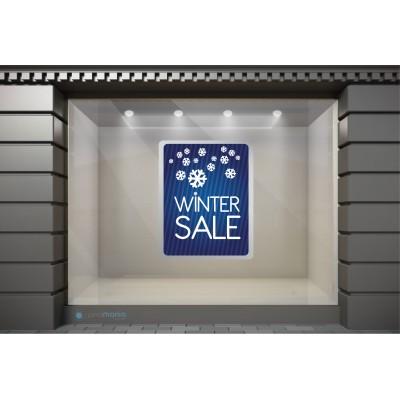 WSL001 Αυτοκόλλητα Βιτρίνας / Τοίχου - Χειμωνιάτικων Εκπτώσεων με νιφάδες χιονιού