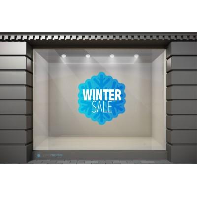 WSL008 Αυτοκόλλητα Βιτρίνας / Τοίχου - Χειμωνιάτικες Εκπτώσεις - Νιφάδα προσφορών