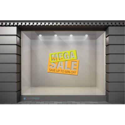 WSL134 Αυτοκόλλητα Βιτρίνας / Τοίχου - Χειμωνιάτικες Εκπτώσεις Mega Sale