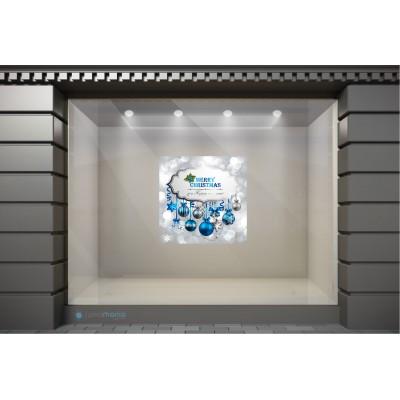 XSM014 Χριστουγεννιάτικα Αυτοκόλλητα Βιτρίνας - Πολύχρωμα Στολίδια