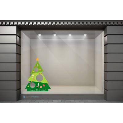XSM018 Χριστουγεννιάτικα Αυτοκόλλητα Βιτρίνας / Τοίχου - Στολισμένο Δέντρο