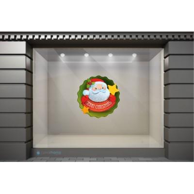 XSM021 Χριστουγεννιάτικα Αυτοκόλλητα Βιτρίνας / Τοίχου - Χριστουγεννιάτικος Άγιος Βασίλης