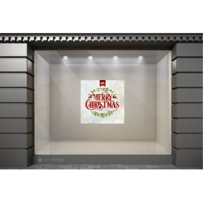 XSM027 Χριστουγεννιάτικα Αυτοκόλλητα Βιτρίνας / Τοίχου - Καλά Χριστούγεννα