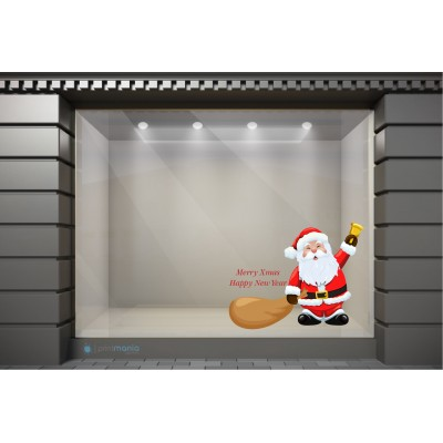 XSM039 Χριστουγεννιάτικα Αυτοκόλλητα Βιτρίνας / Τοίχου - Άγιος Βασίλης με Κουδούνι