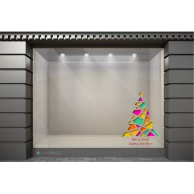 XSM041 Χριστουγεννιάτικα Αυτοκόλλητα Βιτρίνας / Τοίχου - Πολύχρωμο Χριστουγεννιάτικο Δέντρο
