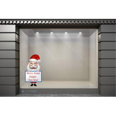 XSM043 Χριστουγεννιάτικα Αυτοκόλλητα Βιτρίνας / Τοίχου - Γιορτινός Άγιος Βασίλης
