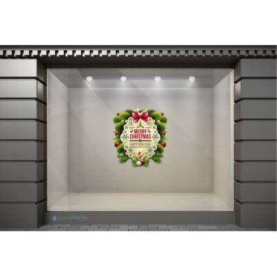 XSM058 Χριστουγεννιάτικα Αυτοκόλλητα Βιτρίνας / Τοίχου - Ευχές με Χριστουγεννιάτικη Διακόσμηση