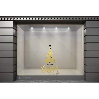 XSM062 Χριστουγεννιάτικα Αυτοκόλλητα Βιτρίνας / Τοίχου - Χρυσό Δέντρο με Ευχές