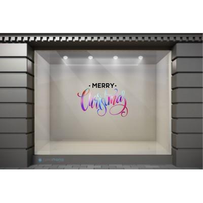 XSM076 Χριστουγεννιάτικα Αυτοκόλλητα Βιτρίνας / Τοίχου - Merry Christmas