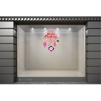 XSM079 Χριστουγεννιάτικα Αυτοκόλλητα Βιτρίνας / Τοίχου - Χριστουγεννιάτικες Ευχές και Στολίδια