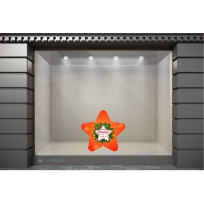 XSM083 Χριστουγεννιάτικα Αυτοκόλλητα Βιτρίνας / Τοίχου - Χριστουγεννιάτικο Αστέρι
