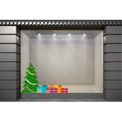 XSM106 Χριστουγεννιάτικα Αυτοκόλλητα Βιτρίνας / Τοίχου - Στολισμένο Δέντρο με Δώρα