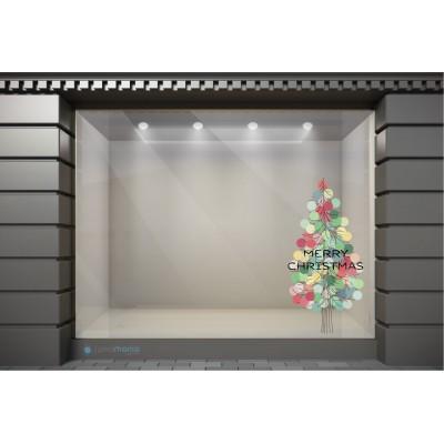 XSM112 Χριστουγεννιάτικα Αυτοκόλλητα Βιτρίνας / Τοίχου - Πεύκο με Δώρα