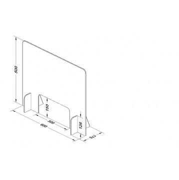 Διαχωριστικό - Προστατευτικό 60X50  Plexiglass 3mm για Ταμεία - Γραφεία