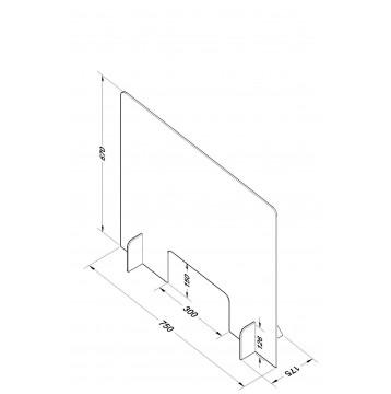 Διαχωριστικό - Προστατευτικό 75X67  Plexiglass 5mm για Ταμεία - Γραφεία