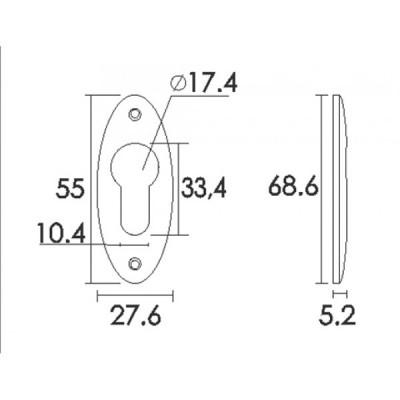 Ροζέτα Στενή Πόρτας Ασφαλείας Convex C211 σε 3 αποχρώσεις