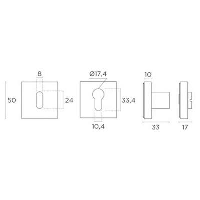 Ροζέτα Εσωτερικής Πόρτας Convex 2145 σε 7 αποχρώσεις