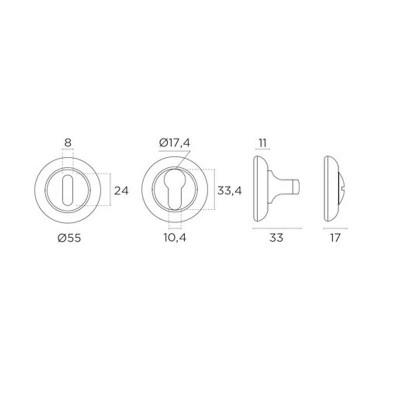 Ροζέτα Εσωτερικής Πόρτας Convex 485 σε 4 αποχρώσεις